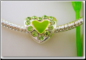 Green Heart Silver Plated Bead
