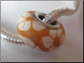 Golden Hibiscus Flower CLAY Bead