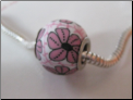 Asian Pink on White CLAY Bead