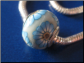 Blue Daisy on White CLAY Bead