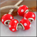 Minnie Mouse Red White Dots Glass Bead