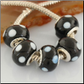 Minnie Mouse Black White Dots Glass Bead