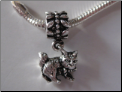 Cat Dangle Sterling Silver Bead