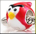 Bird Red European Bead