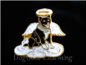 Aussie Cattle Dog Angel BLk Floating Locket Charm