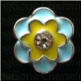 Yellow BLUE double flower  Floating Locket charm