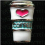 I Luv Coffee White Cup Floating Locket charm