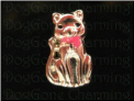 Cat Kitty Kitten Silver Pink Bow Floating Locket charm