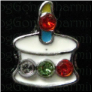 Birthday Cake Candle Stones Alloy  Floating Locket charm