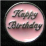 Happy Birthday Pink Cir  Alloy  Floating Locket charm