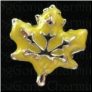 Leaf Golden Yellow Autumn  Alloy  Floating Locket charm