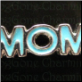 MOM Teal Blue  Alloy  Floating Locket charm