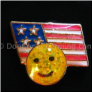USA Flag with Smiley Face Floating Locket Charm