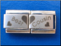 Best Cousin set of two Laser Italian charm