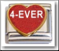 4-Ever Heart, red glitter Italian Charm