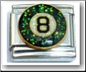 Eight Ball, glitter Italian Charm