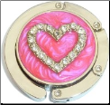 Rhinestone Pink Heart  Foldable Purse Hook