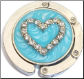Rhinestone Turquoise Heart  Foldable Purse Hook