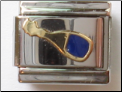Blue Champagne or Wine bottle 18 kt Italian Charm