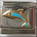 Tourquoise Dolphin 18 kt Italian Charm