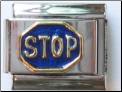 Blue Stop Sign 18 kt Italian Charm