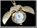 Owl 18kt GP Pocket Watch Pendant
