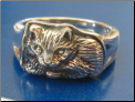 Curled up Cat Ring   Sterling silver