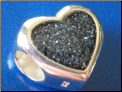 Black Glitter Heart European Hand Painted bead