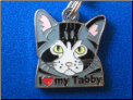 ZP charm   I love my Tabby cat-3 colors!