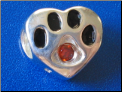 Bead   Sterling Dog Paw w/July birthstone