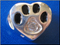 Bead   Sterling Dog Paw October birthstone
