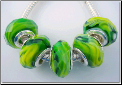 Green Swirl Faceted Crystal Glass Bead
