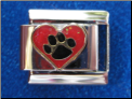 Paw in heart Italian charm