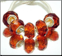 Burnt Orange Amber Crystal Bead Silver Core