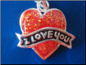 I love you in Heart   Sterling Silver charm