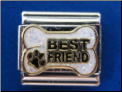 Best Friend Dog Bone with paw  Italian Charm