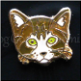 Tabby Cat Face Brown Floating Locket Charm