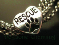 Silver Rescue Bead with Dog Paw in Heart 925