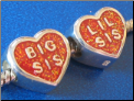 Bid Sis   Lil Sis 2 sided European style Silver bead