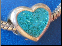 Aqua Glitter Heart European Hand Painted bead