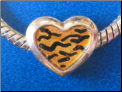 Animal Print Heart European Style BEAD   Hand Painted