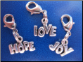 Hope   Love   Joy Set of three Pull Charm