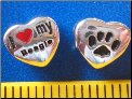 Bead   I love my Beagle Dog w/paw    Sterling Silver