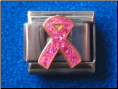 Pink Glitter Breast Cancer Ribbon