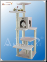Classic Cat Tree Ivory Faux Fleece House   68