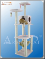 Classic Cat Tree Ivory Faux Fleece House   73