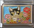 Cat in Wild Flowers - Blue Italian charm