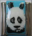 Panda Bear Head on Blue   hand painted