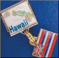 Hawaii with dangle Hawaiian Flag