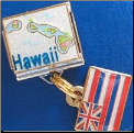 Hawaii   Glitter   with dangle Hawaii State Flag